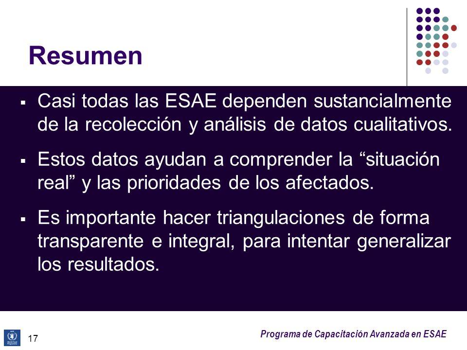 ResumenCasi todas las ESAE dependen sustancialmente de la recolección y análisis de datos cualitativos.