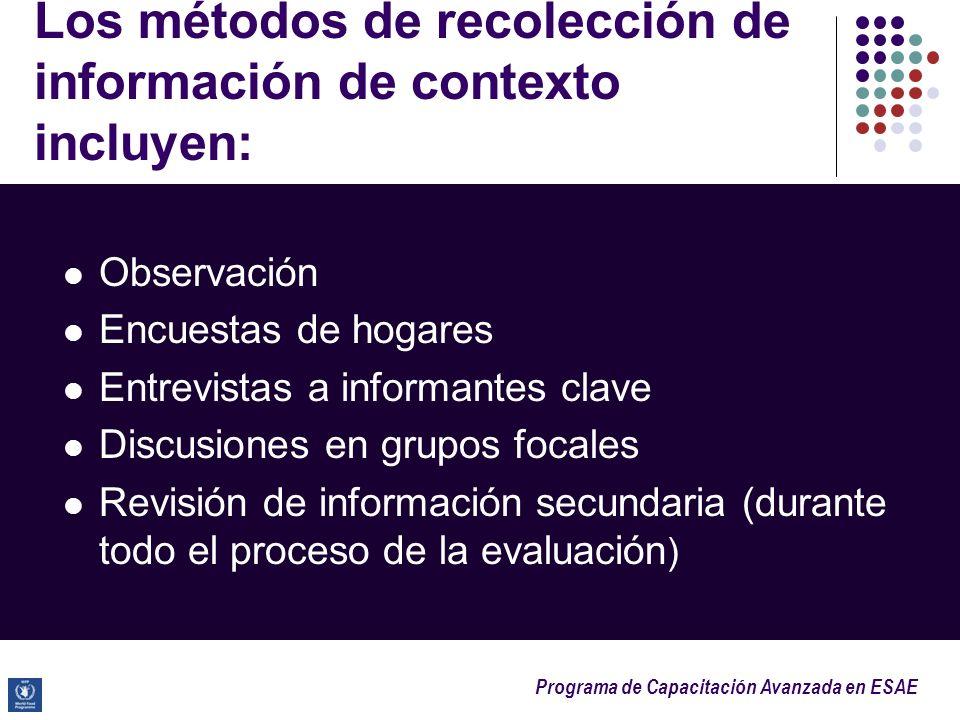 Los métodos de recolección de información de contexto incluyen: