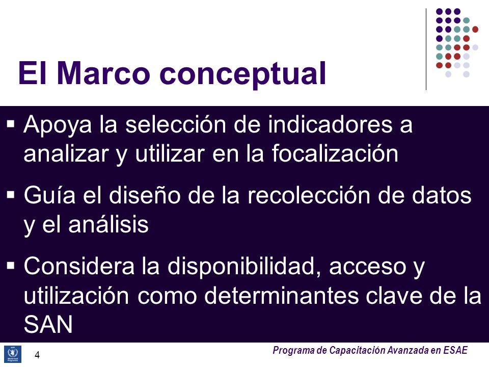 El Marco conceptualApoya la selección de indicadores a analizar y utilizar en la focalización.