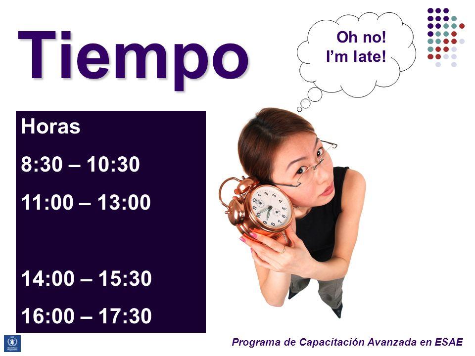 Tiempo Horas 8:30 – 10:30 11:00 – 13:00 14:00 – 15:30 16:00 – 17:30