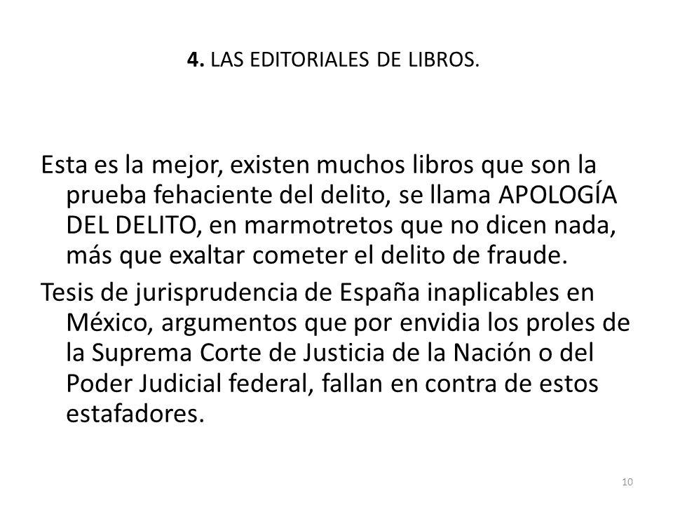 4. LAS EDITORIALES DE LIBROS.