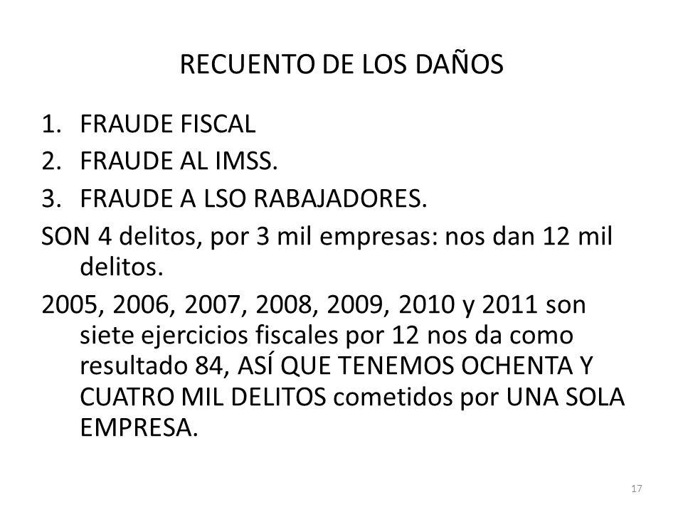 RECUENTO DE LOS DAÑOS FRAUDE FISCAL FRAUDE AL IMSS.