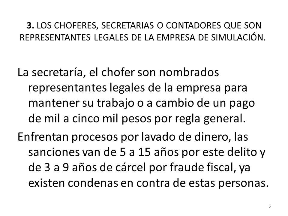 3. LOS CHOFERES, SECRETARIAS O CONTADORES QUE SON REPRESENTANTES LEGALES DE LA EMPRESA DE SIMULACIÓN.