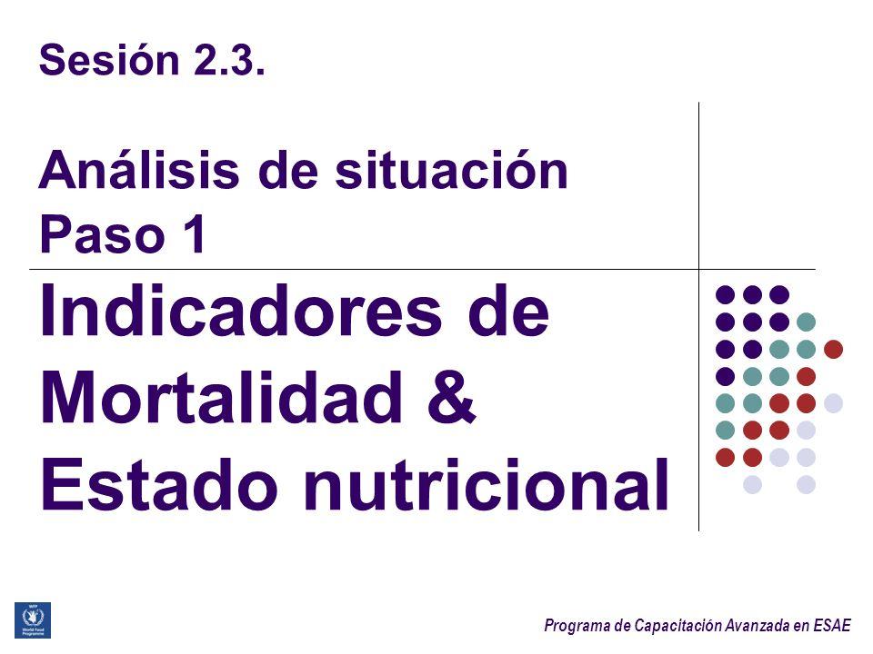 Sesión 2.3. Análisis de situación Paso 1 Indicadores de Mortalidad & Estado nutricional