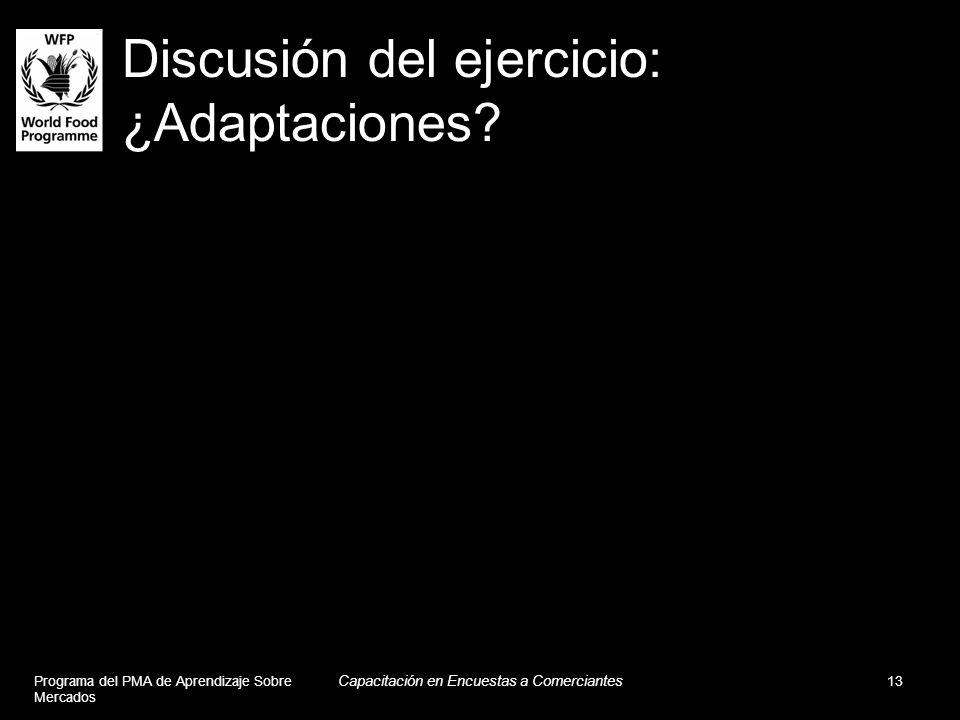 Discusión del ejercicio: ¿Adaptaciones