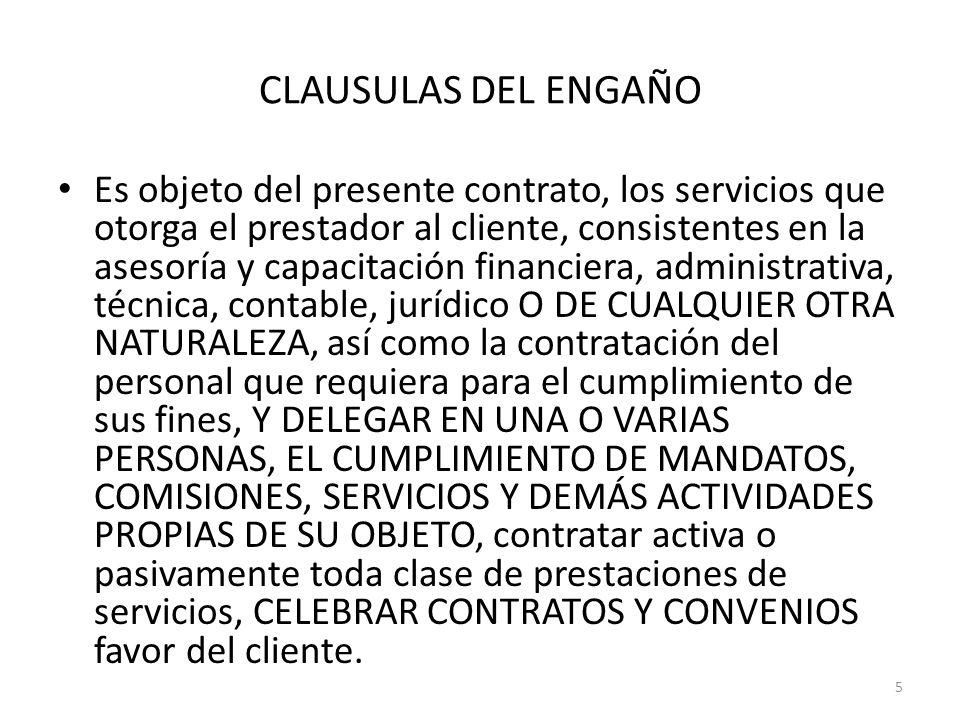 CLAUSULAS DEL ENGAÑO