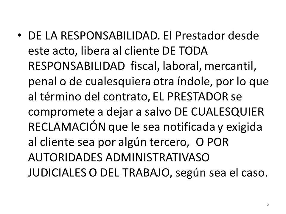 DE LA RESPONSABILIDAD.