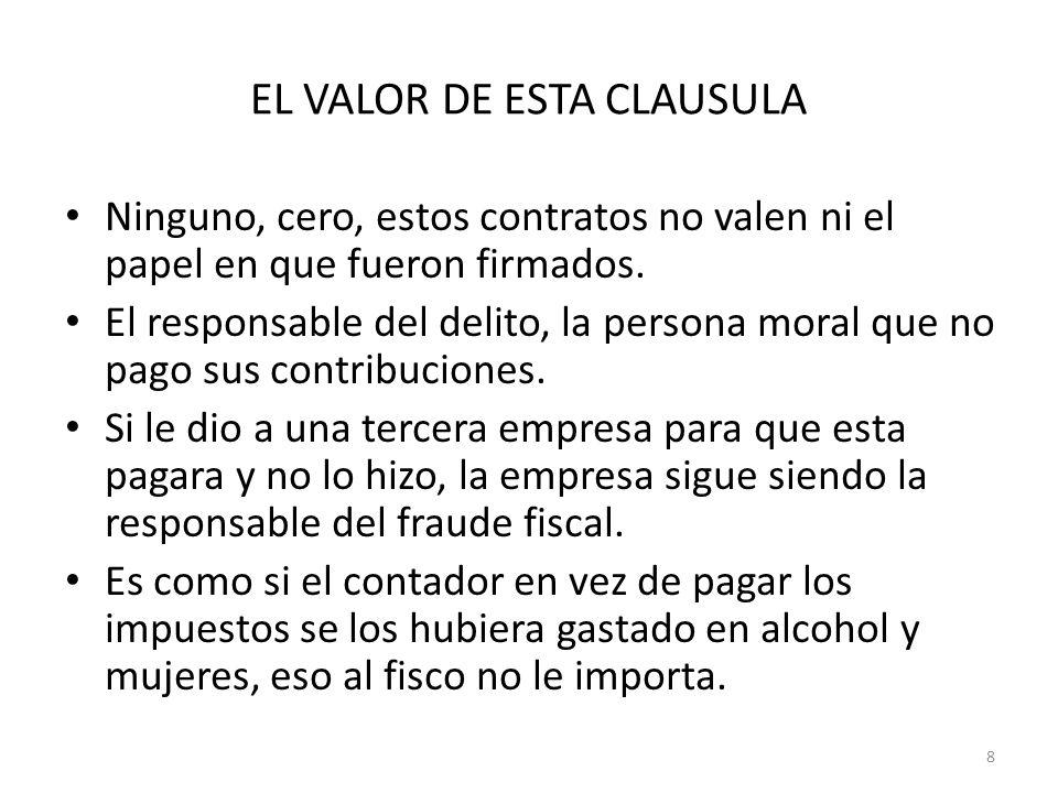 EL VALOR DE ESTA CLAUSULA