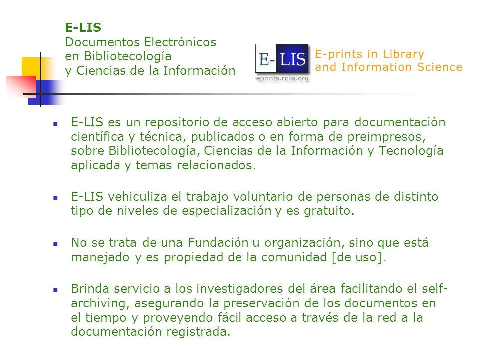E-LIS Documentos Electrónicos en Bibliotecología y Ciencias de la Información