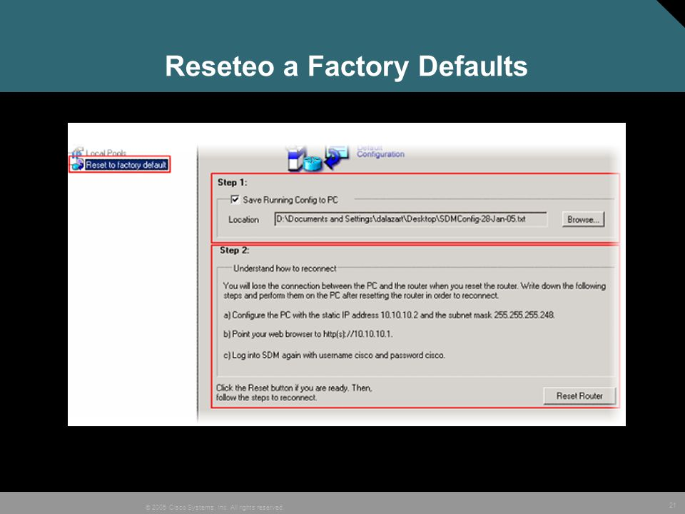 Reseteo a Factory Defaults