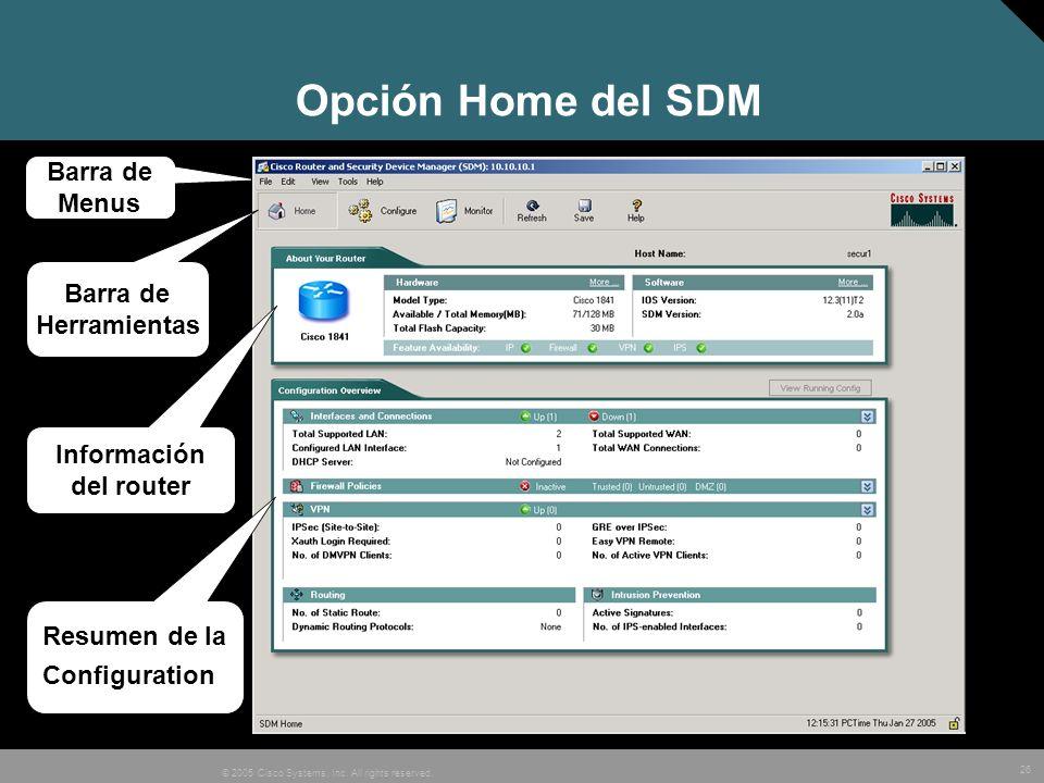 Opción Home del SDM Barra de Menus Barra de Herramientas Información