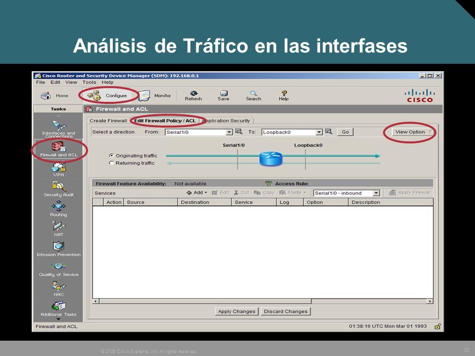 Análisis de Tráfico en las interfases