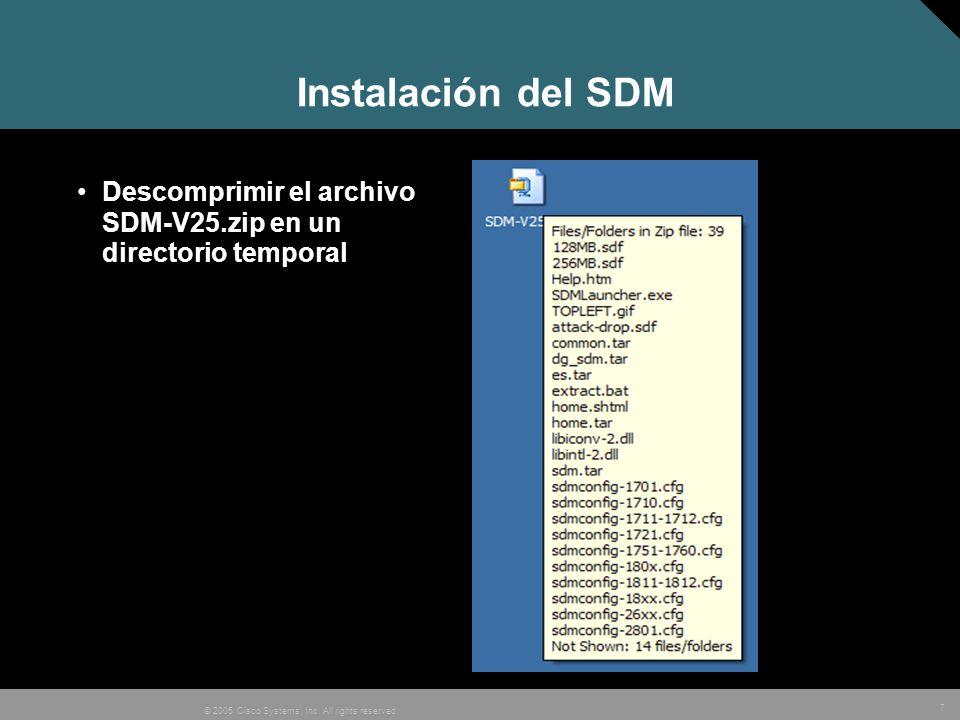 Instalación del SDM Descomprimir el archivo SDM-V25.zip en un directorio temporal