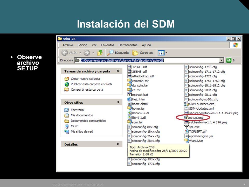 Instalación del SDM Observe archivo SETUP