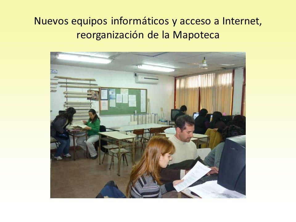 Nuevos equipos informáticos y acceso a Internet, reorganización de la Mapoteca