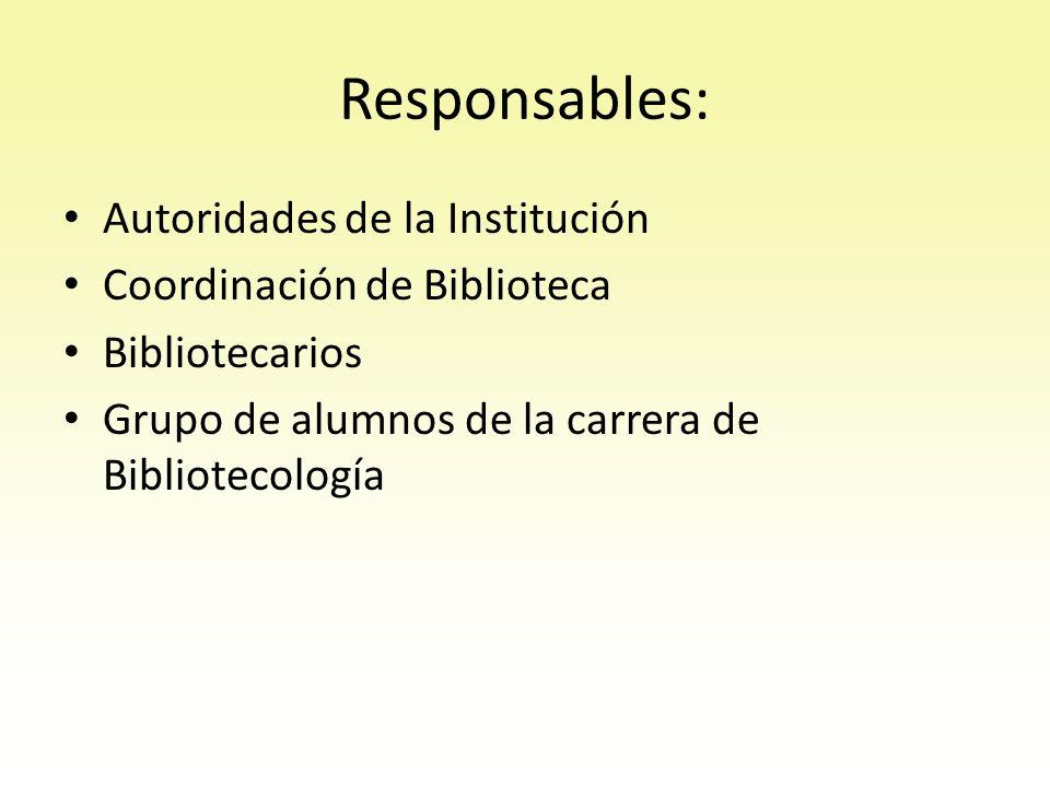 Responsables: Autoridades de la Institución Coordinación de Biblioteca