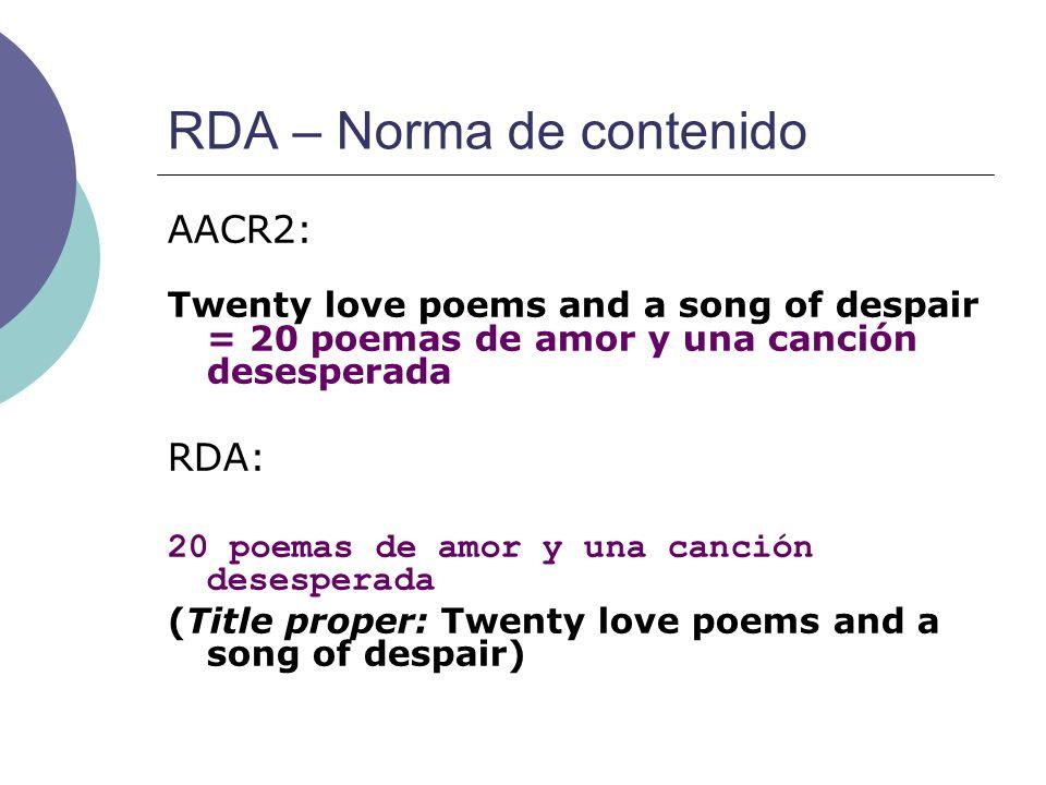 RDA – Norma de contenido
