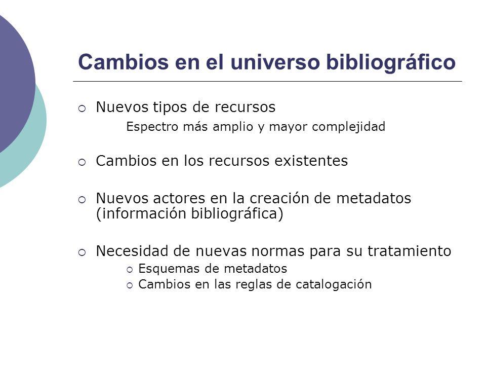Cambios en el universo bibliográfico