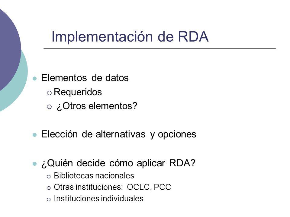Implementación de RDA Elementos de datos