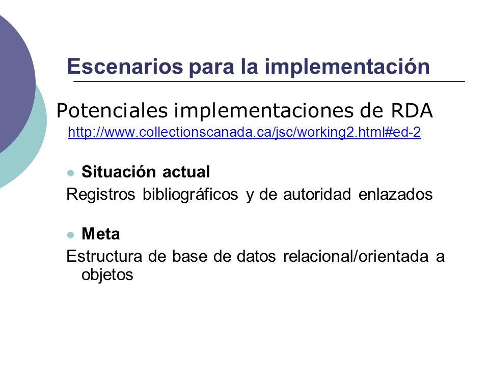 Escenarios para la implementación