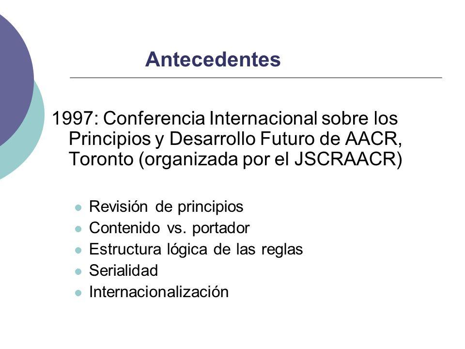 Antecedentes1997: Conferencia Internacional sobre los Principios y Desarrollo Futuro de AACR, Toronto (organizada por el JSCRAACR)