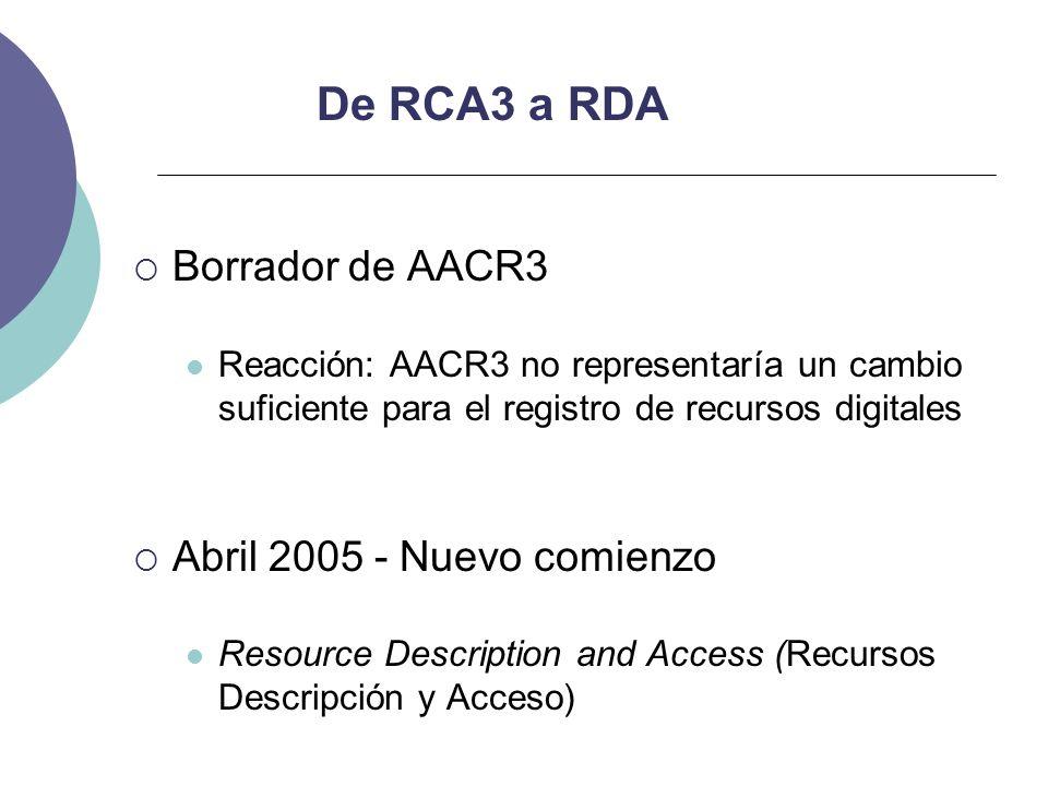 De RCA3 a RDA Borrador de AACR3 Abril 2005 - Nuevo comienzo