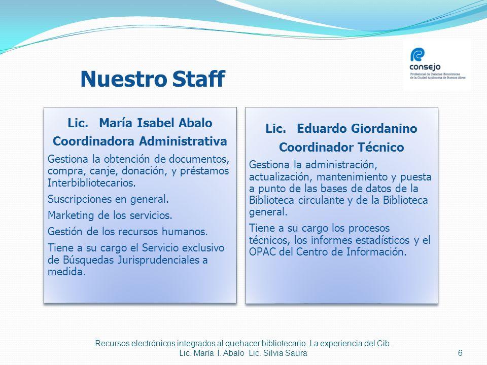 Coordinadora Administrativa Lic. Eduardo Giordanino