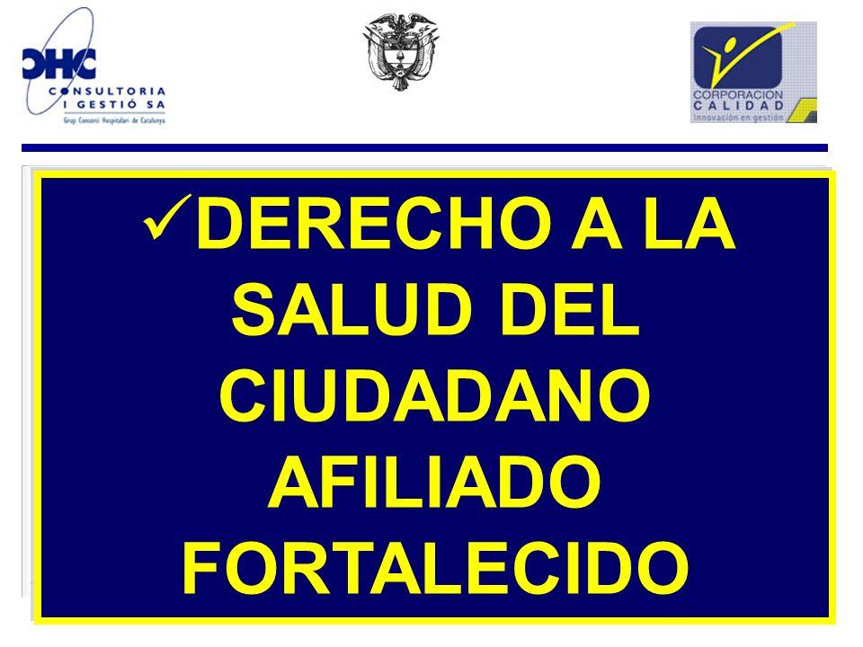 DERECHO A LA SALUD DEL CIUDADANO AFILIADO FORTALECIDO