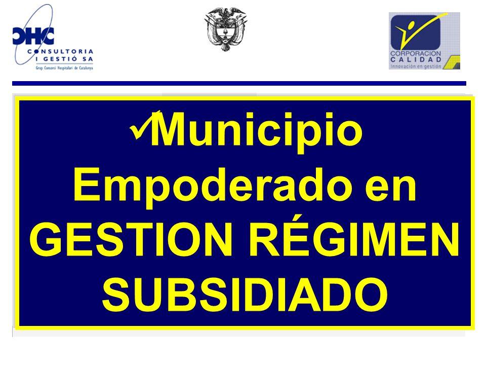 Municipio Empoderado en GESTION RÉGIMEN SUBSIDIADO