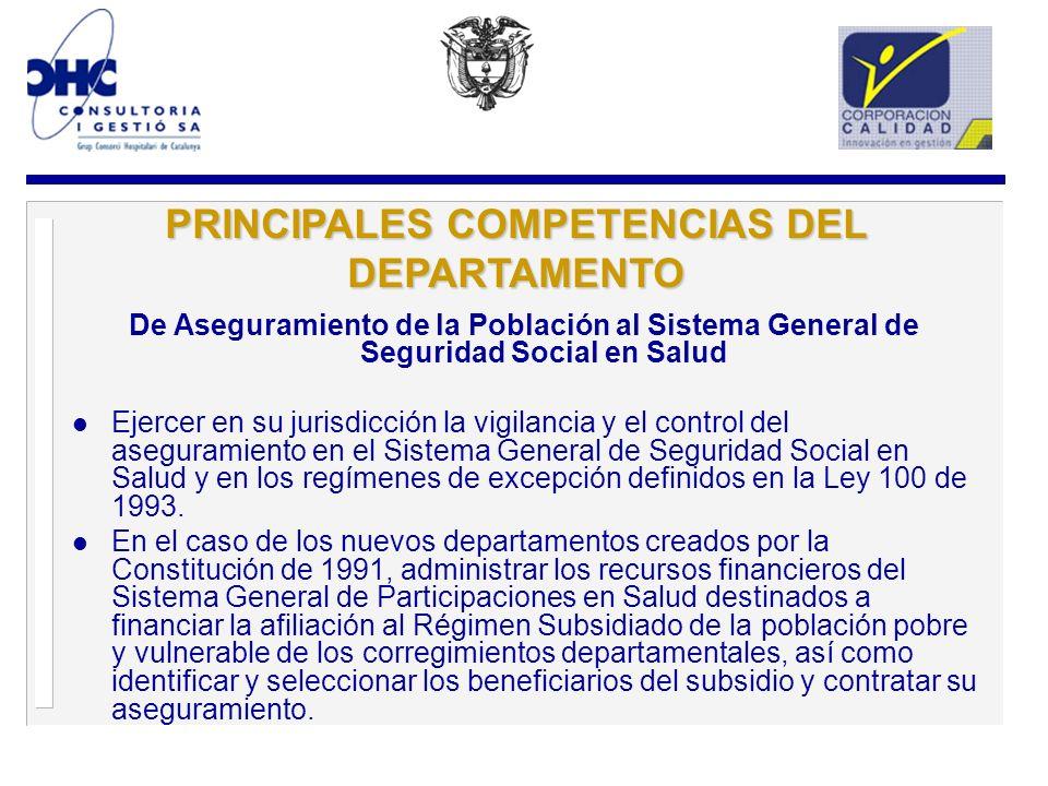 PRINCIPALES COMPETENCIAS DEL DEPARTAMENTO