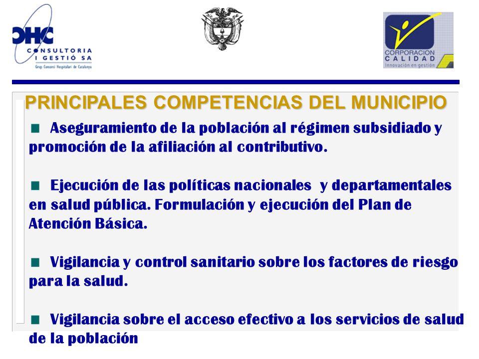 PRINCIPALES COMPETENCIAS DEL MUNICIPIO