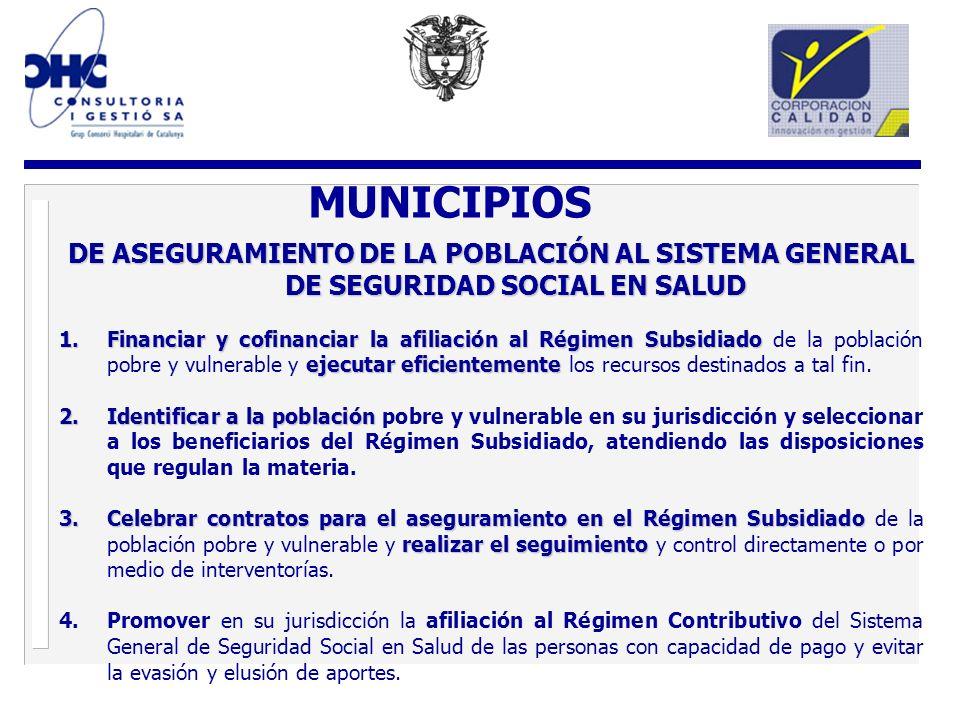 MUNICIPIOS DE ASEGURAMIENTO DE LA POBLACIÓN AL SISTEMA GENERAL DE SEGURIDAD SOCIAL EN SALUD.