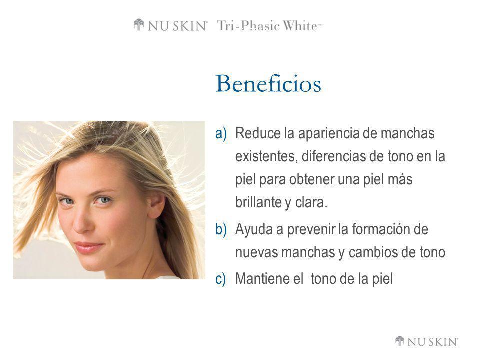 Beneficios Reduce la apariencia de manchas existentes, diferencias de tono en la piel para obtener una piel más brillante y clara.