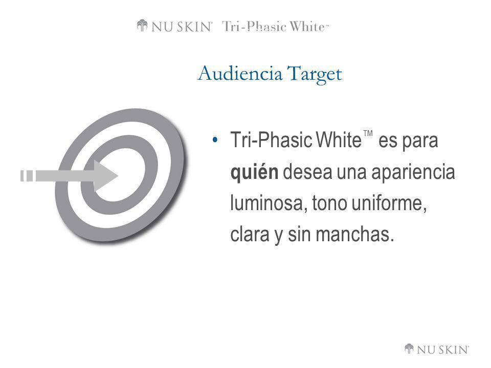 Audiencia Target Tri-Phasic White™ es para quién desea una apariencia luminosa, tono uniforme, clara y sin manchas.