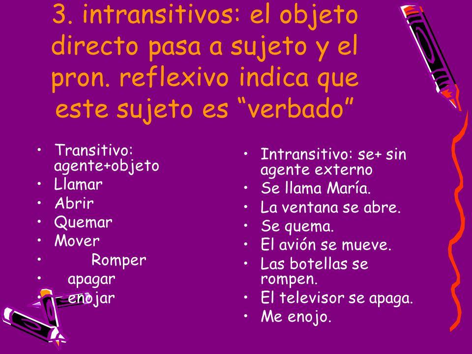 3. intransitivos: el objeto directo pasa a sujeto y el pron