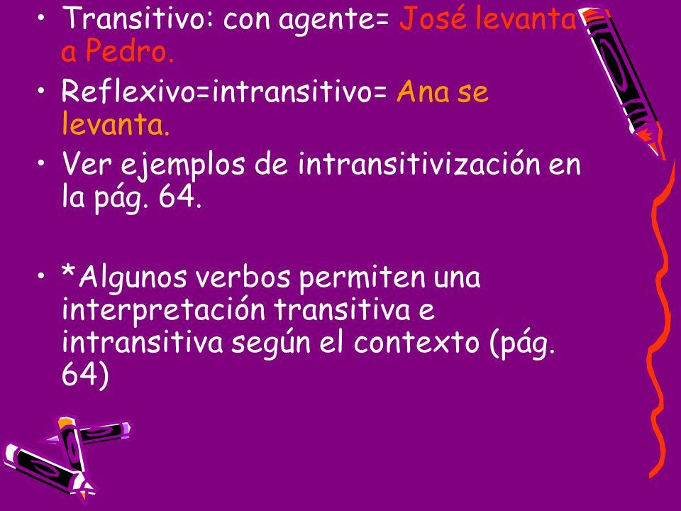 Transitivo: con agente= José levanta a Pedro.