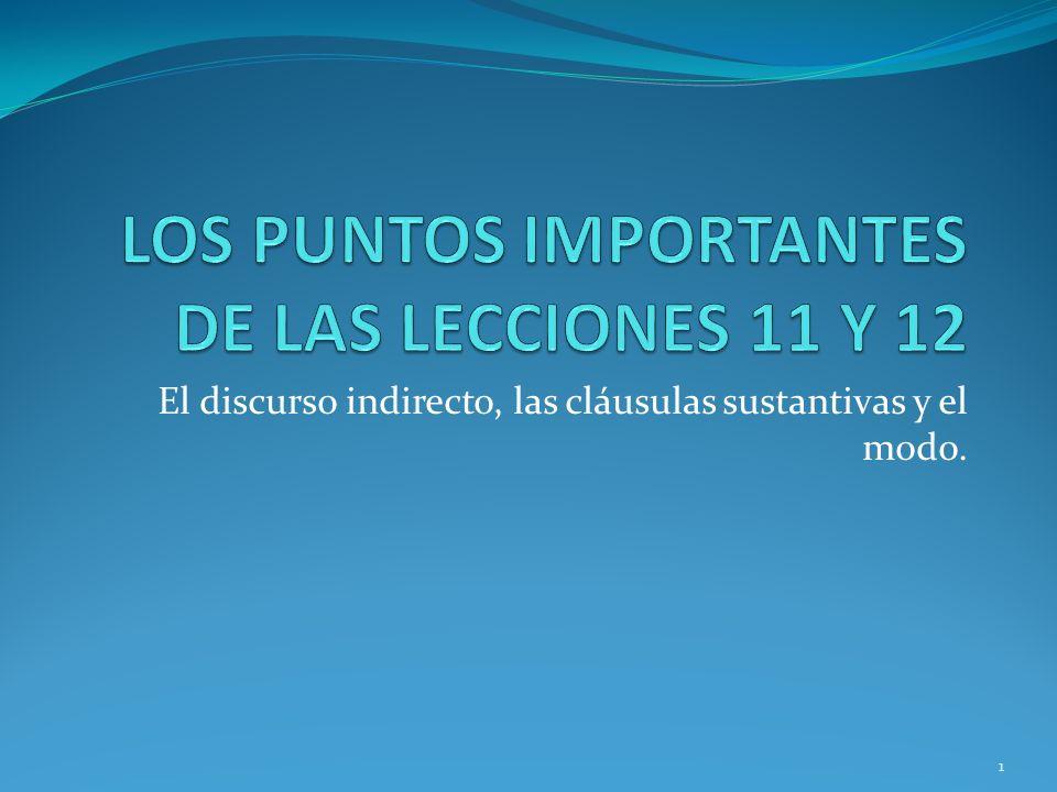 LOS PUNTOS IMPORTANTES DE LAS LECCIONES 11 Y 12