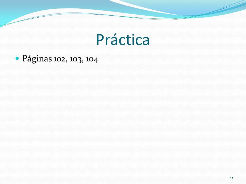 Práctica Páginas 102, 103, 104