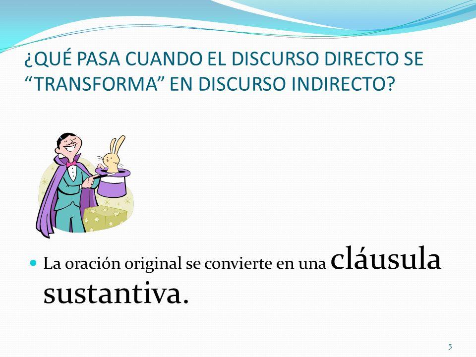 ¿QUÉ PASA CUANDO EL DISCURSO DIRECTO SE TRANSFORMA EN DISCURSO INDIRECTO