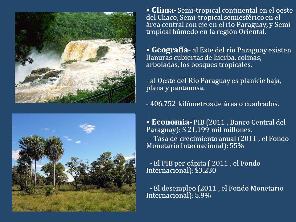 Clima- Semi-tropical continental en el oeste del Chaco, Semi-tropical semiesférico en el área central con eje en el río Paraguay, y Semi- tropical húmedo en la región Oriental.