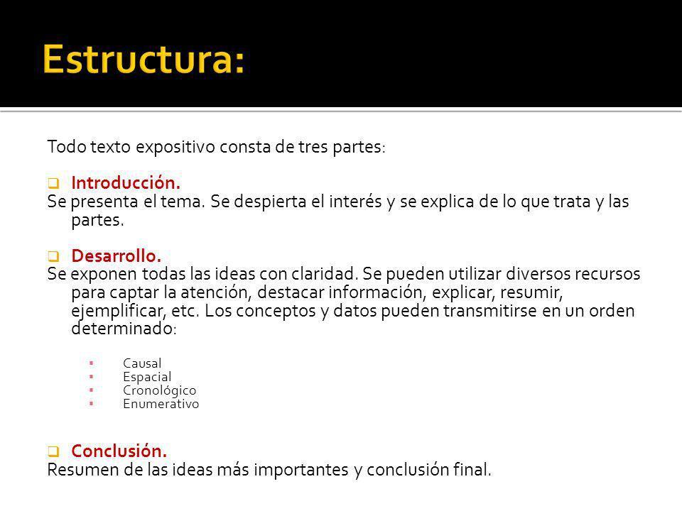 Estructura: Todo texto expositivo consta de tres partes: Introducción.