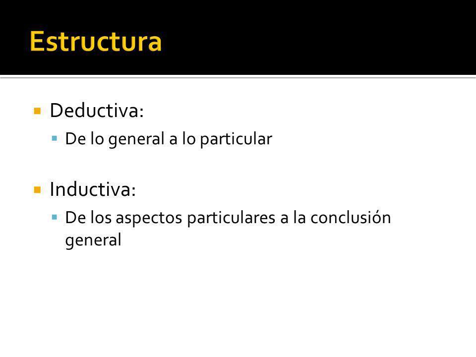 Estructura Deductiva: Inductiva: De lo general a lo particular