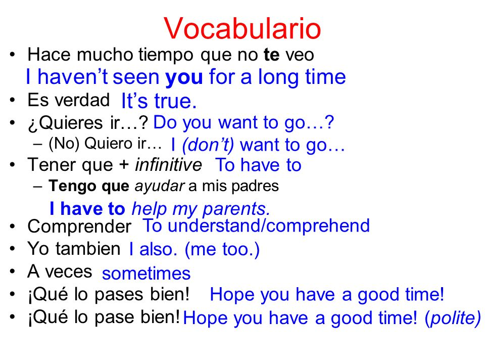Vocabulario I haven't seen you for a long time It's true.