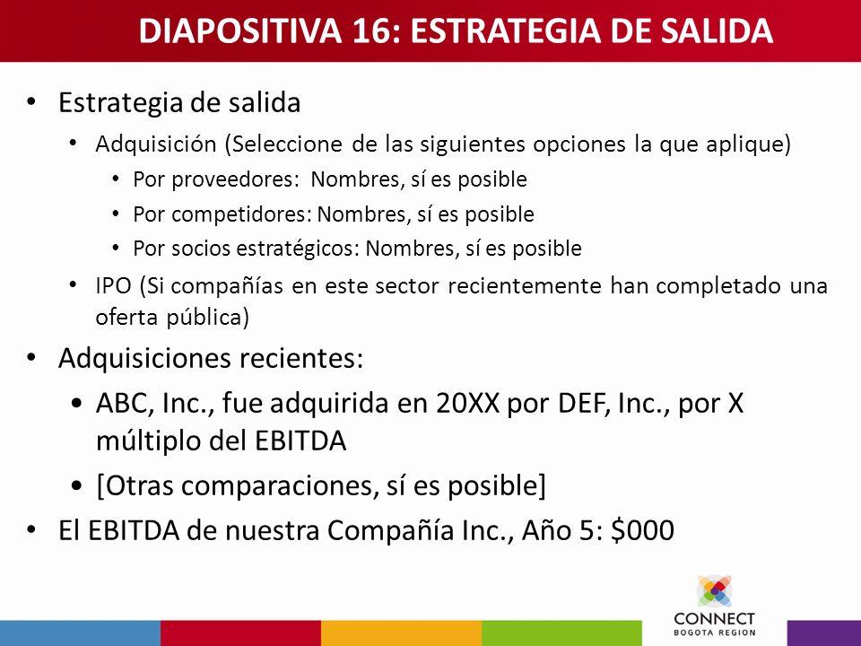 DIAPOSITIVA 16: ESTRATEGIA DE SALIDA