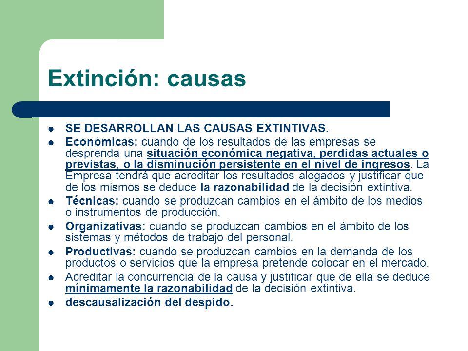 Extinción: causas SE DESARROLLAN LAS CAUSAS EXTINTIVAS.