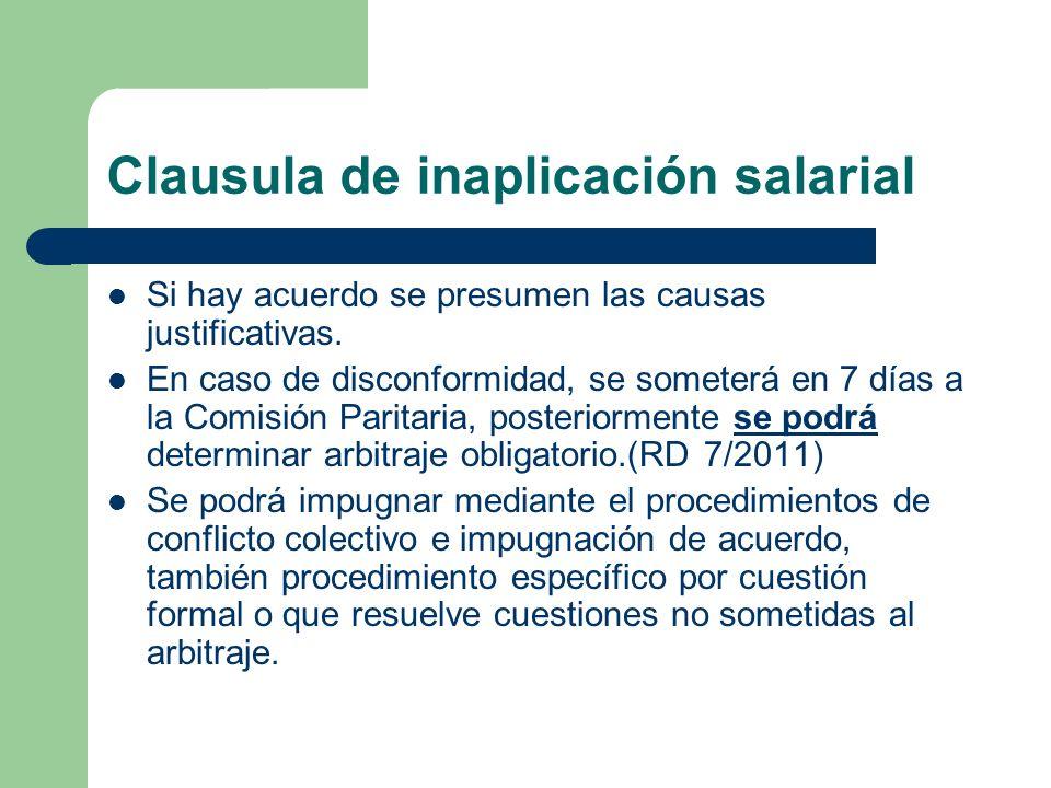 Clausula de inaplicación salarial