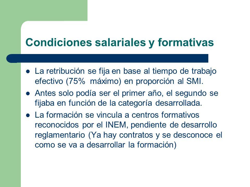 Condiciones salariales y formativas