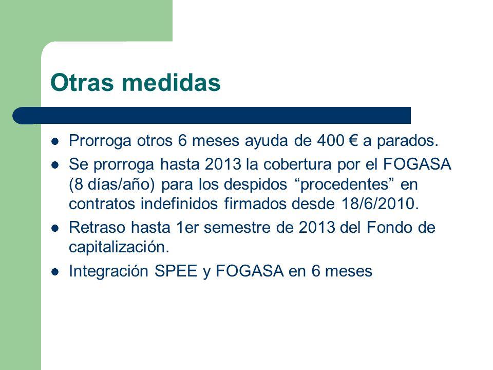 Otras medidas Prorroga otros 6 meses ayuda de 400 € a parados.