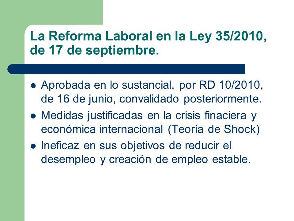 La Reforma Laboral en la Ley 35/2010, de 17 de septiembre.
