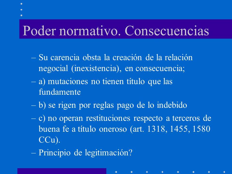 Poder normativo. Consecuencias